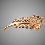 Tiffany 14kt Feather Brooch