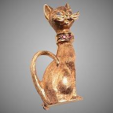 14kt Gold Siamese Cat Brooch