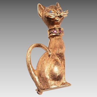 14kt Gold Siamese Cat Brooch