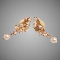 Perfect Vintage Pair of 14kt, Cultured Pearl Earrings