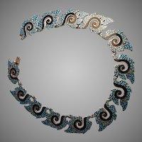Margo 1960's Mexican Silver, Enamel Necklace