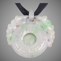 Carved Chinese Lavender Jade with Green Patches