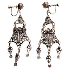 Vintage mexican silver floral bird chandelier earrings judi wyant vintage sterling silver chandelier earrings mozeypictures Images