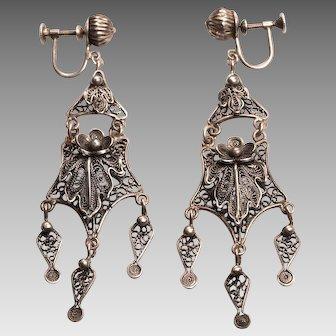 Vintage Sterling Silver Chandelier Earrings