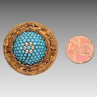Antique Persian Turquoise 18kt Gold Brooch, Cultured Pearls