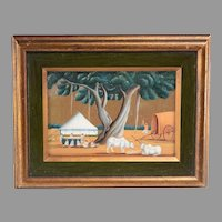 An exceptional folk art painting of late 19th century pastoral India