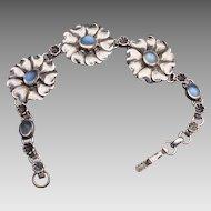 Sterling, Blue Moonstone Bracelet:  1950's
