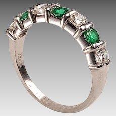 Vintage Platinum, Diamonds, Emeralds Band