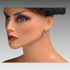 Signed Tiffany Sterling Pierced Earrings