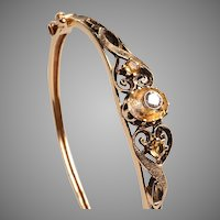 Edwardian Gold, Diamonds, Citrines Bangle Bracelet