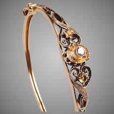 Edwardian Gold, Diamonds, Citrines Bangle Bracelet