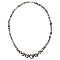 Art Deco Faceted Crystals Necklace