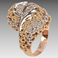 Two Color 14kt Gold and Diamonds Ring