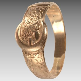English 9kt Victorian Buckle Ring