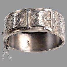 "Hallmarked English Silver ""Buckle"" Bangle Bracelet: Victorian"