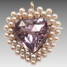 Gold, Amethyst Heart, Seed Pearl Brooch