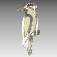 1930's Cockatiel or Cockatoo Brooch:  Molded Celluloid, Chromed Metal