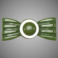 1930's Green BAKELITE, MOP bow shaped Brooch