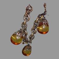 1960's Apple Juice BAKELITE Charm Bracelet - Chunky, Silver tone Links