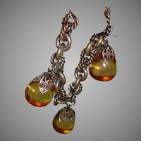 1960's Apple Juice BAKELITE Charm Bracelet - Chunky, Silver tone Links