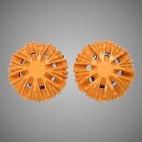 Deeply Carved Bakelite Clip Earrings