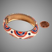 Signed Trifari Enameled Bangle Bracelet