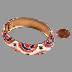 Signed Trifari Enameled Bangle Bracelet