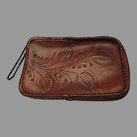 1950's Tooled Leather Clutch Purse