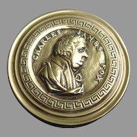 18th Century Brass Snuff Box: Charles James Fox