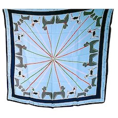 """1950's Jacqmar Scarf """"Walking the Dogs"""""""