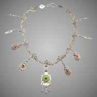 c.1920's Silver over Copper ETHNIC Necklace: brass rings, glass beads