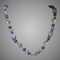 Cobalt Glass and Silver Bead Necklace:  c.1920's