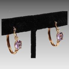Retro Design Gold and Amethyst Hoop Earrings