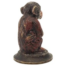 Austrian Cold Painted Bronze, Seated Monkey