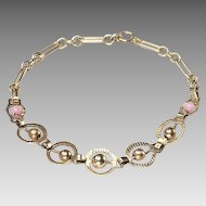 Vintage 1930's 14kt Gold and PINK Bead Bracelet