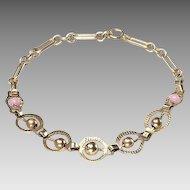Vintage 1930's 14kt Gold and PINK Bead Bracelet