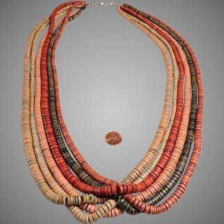 5 Strand Bead Necklace:  gorgeous sun bleach colors
