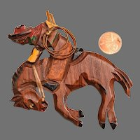 1940'S Wooden Jewelry: Bucking Bronco