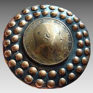 """Copper Repousse Portrait Brooch c.1900: """"Edward VII, King of Britain, English Dominions, Emperor of India"""