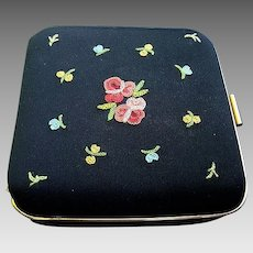 Vintage French Silk Embroidered Compact: 1950's