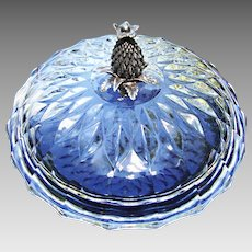 Elegant Crystal Covered Box, French Silver Finial