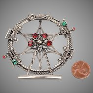 Vintage Silver Tone, Rhinestone Ferris Wheel Brooch