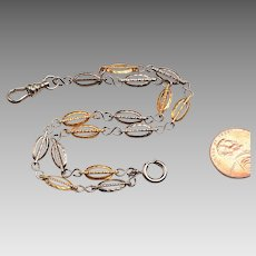 19th c. White and Yellow Gold Filled Fob Chain made into a Bracelet