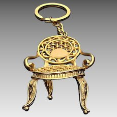 Vintage KEY CHAIN c.1960's: Gold Tone French Side Chair