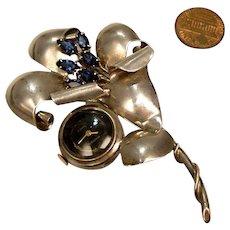 Retro Sterling Silver, 17 jewel Lapel Watch Brooch: