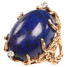 Handmade 14kt, Diamonds, Lapis Mid Century Ring