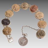 Lava Cameos Bracelet:  circa 1890's, Silver Bezels