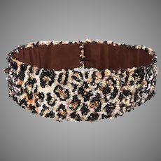 Vintage Couture: Sequined Belt - leopard skin design