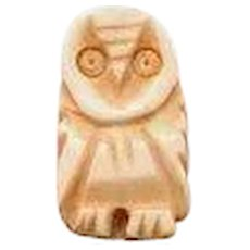 Little Carved Bone Owl Button