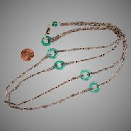 Brass and Chrysoprase Lorgnette Length Necklace